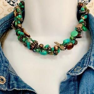 Vintage Turquoise Choker and Bracelet Set